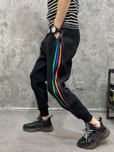 2021 spring new style thickened casual pants men's fashion brand versatile striped net red zipper Harlan Mini foot guard pants
