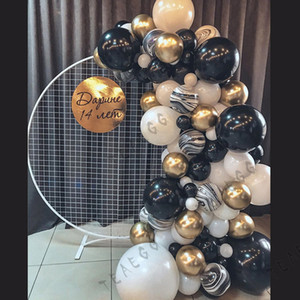 108Pcs Black White Balloons Garland Kit Chrome Gold 1St Birthday Party Balloon Arch Set Wedding Bridal Shower Decoration Balls