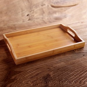 Wooden Bamboo Rectangular Serving Tray Kung Fu Tea Cutlery Trays Storage Pallet Fruit Plate with Handle
