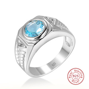 Men Aquamarine Gemstones Blue Zircon Rings for Men Vintage Luxury 925 Sterling Silver Wedding Jewelry Bijoux Bague for Gifts10