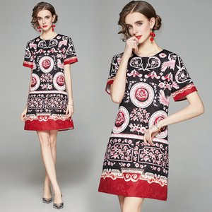 2021 Quality Women's Fashion Dresses Plus Size Short Sleeve Vintage Casual Printed Summer Dress Party Prom Runway Office Lady Designer Dress
