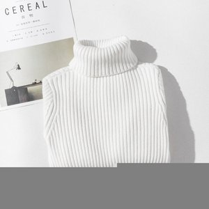 Girls Sweaters Turtleneck Solid Color Knitting Sweater Autumn Children Clothing White Pullover Kids Tops 2t 3t 4t 8 12 13 Years 201104