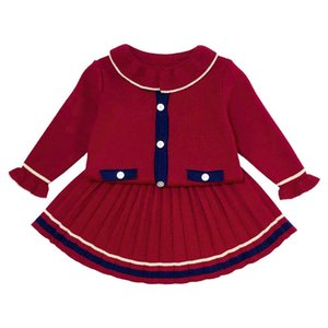Autumn Winter Girls Outfits Baby Clothes Infant Sets Kids Suits Long Sleeve Knitted SweaterCardigan+Skirts 0-4Y SM033