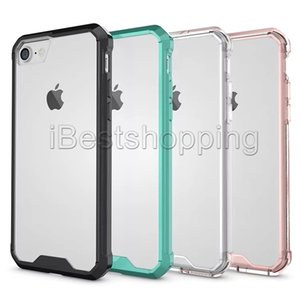 TPU+PC Case Cover Hybrid Bumper Transparent Shockproof Cases For iPhone Max Xs XR 8 7 6 6S Plus Samsung S8 S9 Plus Note 8