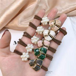Temperament Female Pearl Petal Hair Rope Women Girls Fashion Triangle Starry Sky Head Rope Scrunchie Band Hair Accessories