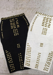 Top Quality White Black Beading Sexy Fashion Rayon Bandage Skirt Cocktail Party Bodycon Skirt Drop Shipping