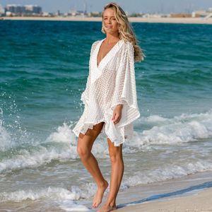 Women's Swimwear Deep V-neck Boho Lace Beach Dress Batwing Sleeve Oversized Lose White Summer Dresses Women Sheer Pareos