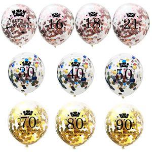 5pcs 12inch Confetti Balloons Latex Birthday Balloon 16 18 21 30 40 50 60 70 Years Old Birthday Party Anniversary Decorations