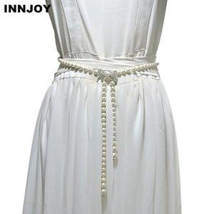 Moda Mulheres Longa Rhinestone Pérola Corrente Corrente Cinto Cintura Cintura para Vestidos de Noiva Laides Feminino Ceinture Femme