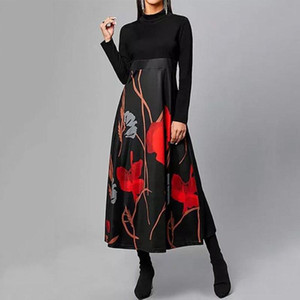 Women Autumn Winter O-Neck Long Sleeve Vintage Daily A-Line Dress Floral Print Maxi Dress