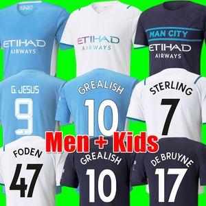 Fans Player Version Camisetas de fútbol de Manchester 21 22 HOMBRE GREALISH CITY STERLING FERRAN DE BRUYNE FODEN 2021 2022 camisetas de fútbol hombres + kit de niños conjuntos