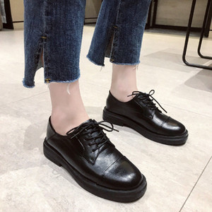 Spring 2020 New Retro British Style Flat Dress Lace Black Oxford Shoes Breathable Feet Lightweight Casual Womens Leather Shoes Summer m5RZ#