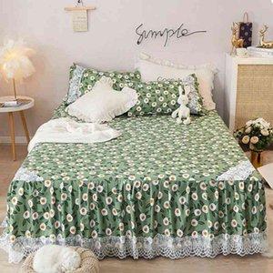 Bed Skirt Summer Korean Version Princess Lace ding Set 1 Sheet+2 Pillowcase Non-Slipspread Cover King Queen Size J8140 JUAL