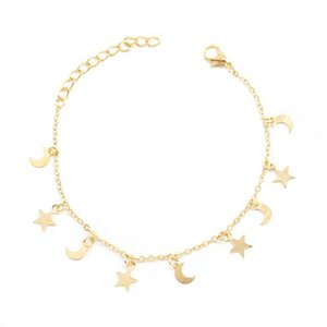 Charm Bracelets 1pc Fashion Moon Star Rope Chain Street Style Girls Friendship Hand Bracelet Lucky For Couple Women Jewelry Gift