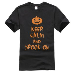 Hiphop Popular Top T-shirts Keep Calm Halloween Pumpkin Demon Graphic Tee Shirt for Men 2019 Fashion Brand Casual Clothes