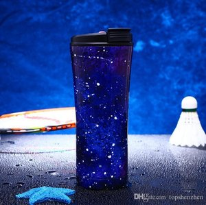 17oz 500ml starry sky straws cups Double Wall Stainless Steel Vacuum Insulated Travel Mug Beer Glass Splash Proof Cup