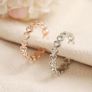 Hollowed Out Heart Shape Open Band Rings Design Cute Fashion Love Rings Adjustable Finger Ring Jewelry for Women Young Girl Child Gifts