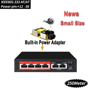 4 port 48V POE switch Ethernet Switch with IEEE 802.3 af at Suitable for IP camera Wireless AP CCTV camera system T200605