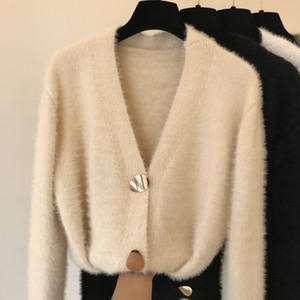Cardigan Autumn Winter V-neck Knitted Imitation Cashmere Sweater Coat Hand Knit Mohair Jacket Long Faux Mane Fur Tops Y200910