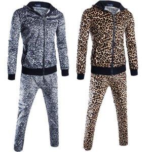 Высокое качество 2020 Весна осень мужской костюм мода леопардовый печать флис мужская одежда лоскутная молния кардиган гарем устанавливает толстовки