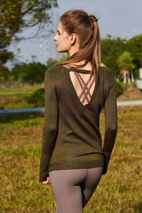 19049 Winter Solid Color Sweater Women Sports Shirts Yoga Gym tanks Tops Sexy Lady Running Jacket Back Large Uni ty Dr op Back Sweater