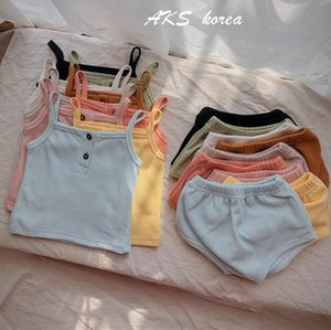Kids Clothing Sets Summer Short Sleeve Vest Outfits Solid Knit Cotton Suits Rompers Pants Headband T-Shirts Triangle Shorts Pants YL375