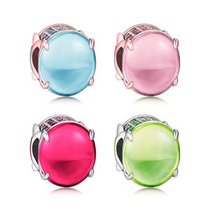 Pure 925 Silver Jewellery Pink Red Green Blue Oval Cabochon Charm Beads Fit Original Pandora Bracelet Charms DIY Jewelry