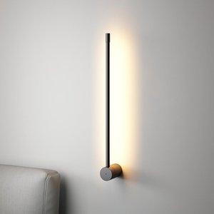 Minimalist Modern LED Parete a Parete per soggiorno Camera da letto Bedside Lights Specchio Front Light Black Frame LED HOTEL DECO Lampada da parete
