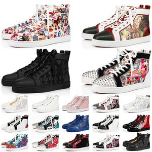 Fashion Red Bottoms Dress Designer Shoes Mens Womens Platform Sneakers Black Suede Studded Spikes White Loafers Flat Heels Trainers Outdoor Size 36-47