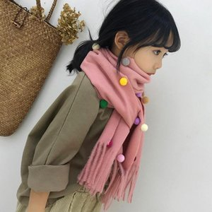 Scarves & Wraps Cute Imitation Cashmere Scarf Children Winter Warm Knitted Skin-friendly Tassel Soft Shawl Girl's Long Scaf
