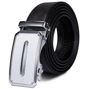 DK-2122 Hi-Tie Genuine Leather Men's Belts Automatic Sliver Buckle Fashion Designer Unique Belts for Men Waistband Leather Strap
