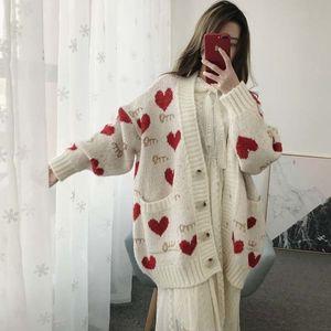 Winter Play Sweater Sweet Heart Cardigan Harajuku Mesh Impression Neck Knitting Tops Sgve