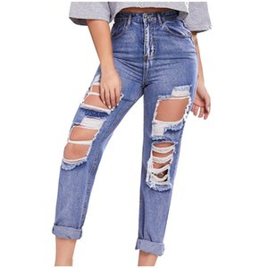 Jeans Women Fashion Cool Hole Low Waist Jeans Solid Color Flares Ankle Summer Long Pants Ripped 2021