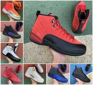 جديد 12 12 ثانية jumpman رجل كرة السلة أحذية ovo الأسود المعدنية جامعة الذهب لعبة رياضة فيابا الملكي الأبيض الداكن رمادي الثيران الرجال سبج