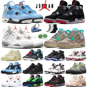 Air Jordan 4 With Sock&Tag Men Basketball Shoes 4s Taupe Haze University Blue Cactus Jack Black Cat White Oreo Sail Raptors Fire Red Starfish trainers sports sneakers