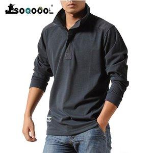 Soqoool Baumwolle Beiläufige Hemden Männer Herbst Lose langärmelige taktische Hemden Militär Große Größe Geschäft Freizeit Männer Polo Hemd 210306