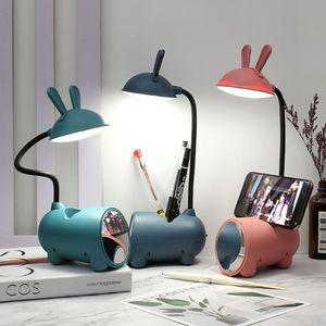 Table Lamps Cute Shape Girl's Study Lamp ABS LED Desk Multifunctional Phone Holder Pen Storage Children Light Bedside