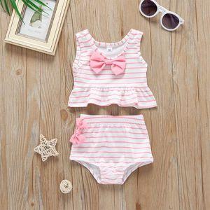 One-Pieces Toddler Kids Baby Girl Bow Swimwear Striped Bikini Brazilian Tankini Bathing Suit Two Piece Swimsuit Biquini Swimwear#45