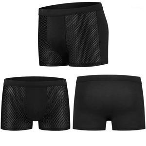 4pcs men's underwear boxers men's underwear boxers bamboo fiber mesh loose designer mens board shorts1