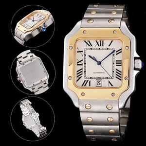 Top Quality Silver-Gold Men Watch Classic Square Design Stainless Steel Mens Watches Automatic Movement Glide Sweep Move Wristwatches Clock