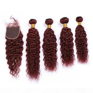 Бургундия Усиливание водой Волна Волна с закрытием 99J Вино Красные Малайзийские мокрые и волнистые волосы девственницы Weaves 4 Seavunds с закрытием