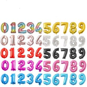 Decorations Number Balloon Birthday Party 32 Color Inches Aluminum Foil Balloons Wedding Home Banquet Supplies CCD1732