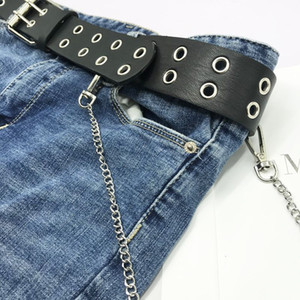 New aggressive fashion double row round hole corns belt hanging chain men's and women's Jeans Dress