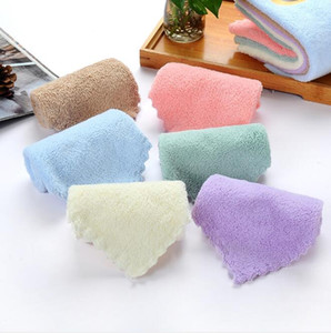 Washcloth Soft Towels Pure Colour Face Towel Coral Fleece Children's Water Uptake Towels Outdoor Travel Portable Hand Towel GWB5153