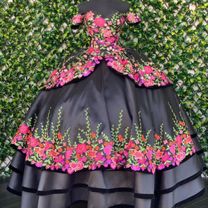 Sexy Black 3D Floral Flowers 2021 Charro Mexican XV Quinceanera Prom Dresses Satin with Sleeves Ball Gown Sweet 16 Dress Vestidos 15 Anos