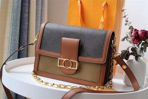 حقيبة يد جلدية حقيقية تأتي مع صندوق السلسلة WOC المرأة الصفراء مصممي الأزياء حقائب الإناث مخلب الكلاسيكية عالية الجودة فتاة حقائب اليد