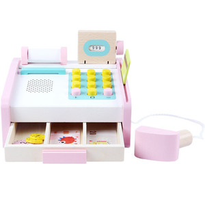 Simulation Cash Register Children Montessori Educational Toys Pink Wooden For Cashier Desk Baby Toys Birthday Gift