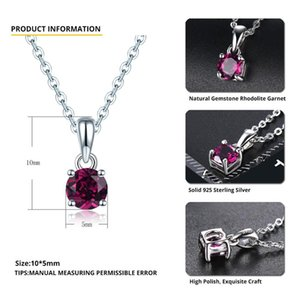 Hutang rhodolite grenat pendentif rond 5mm véritable gemmes still 925 chaîne en argent sterling fine bijoux élégants 0215