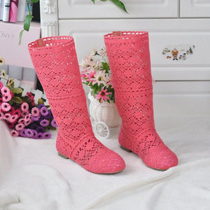 2018 Hollow Boots Shoes Breathable Knit Line Mesh Korean High Summer Women Boots Knee High Womens Shoes 73Kh#