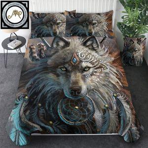 Wolf Wurrior por Sunimaart Bedding Set Wild Animal Edredão Duveta Tampa Dreamcatcher Cama Set 3 pcs Tribal Wolf Lobo Roupa Dropship C0223